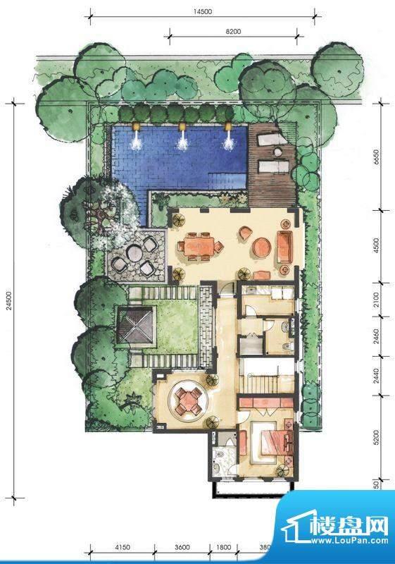 远洋华墅5A户型花园面积:104.87平米