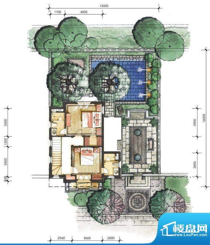 远洋华墅4A户型二层面积:64.36平米