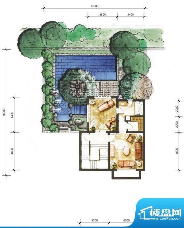 远洋华墅3A户型花园面积:65.55平米