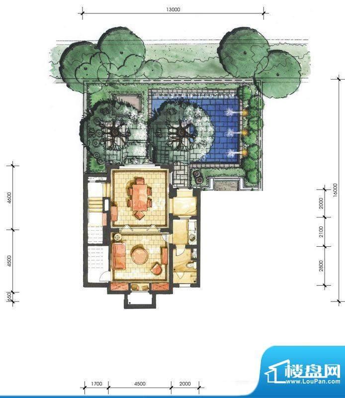 远洋华墅4A户型花园面积:60.67平米