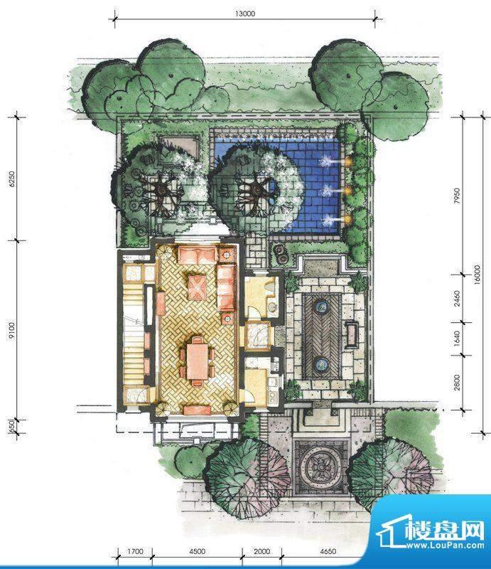 远洋华墅4A户型一层面积:74.44平米