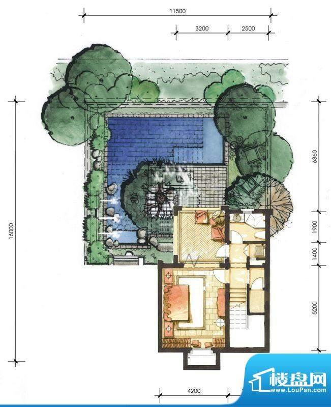 远洋华墅1A户型花园面积:52.44平米