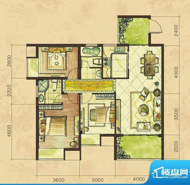华天美地E1户型 3室面积:112.12平米