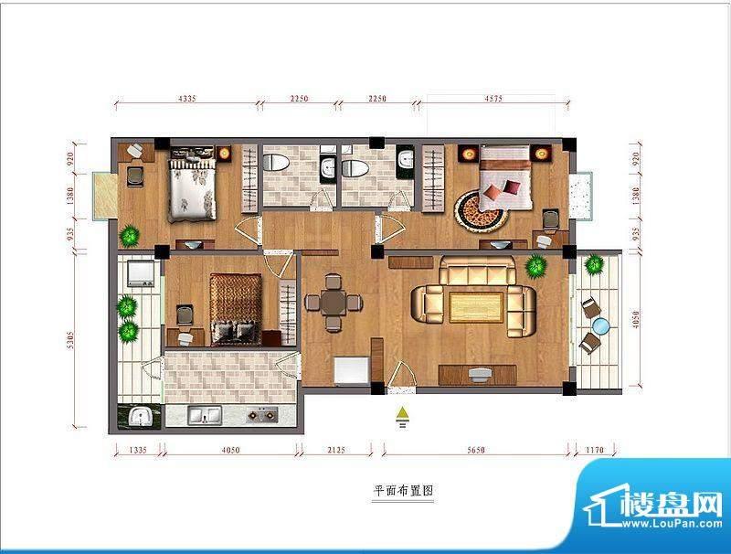 富源佳园A户型图 3室面积:128.00平米