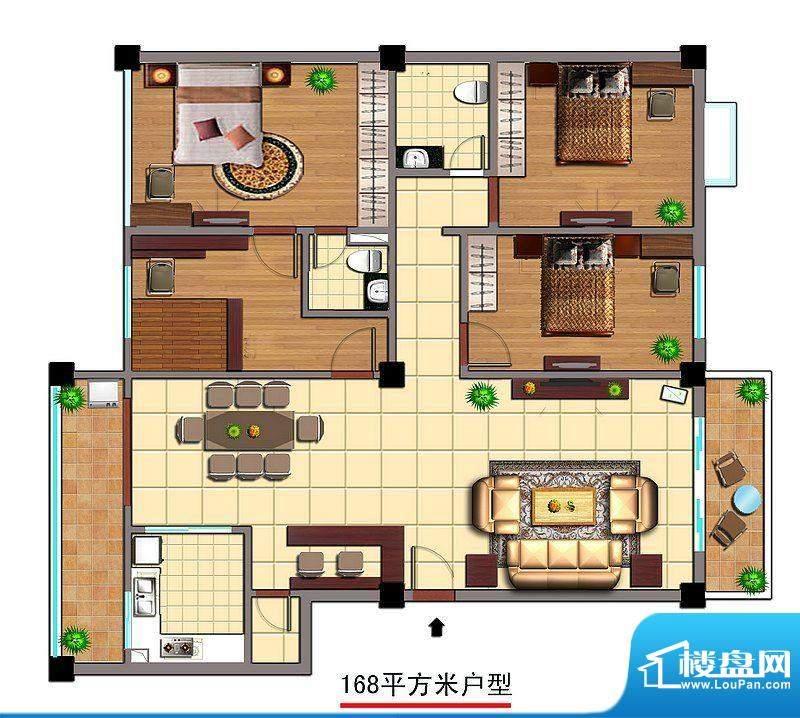 富源佳园C户型图 4室面积:168.00平米