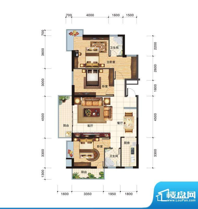 春江一号A户型 3室2面积:123.68平米