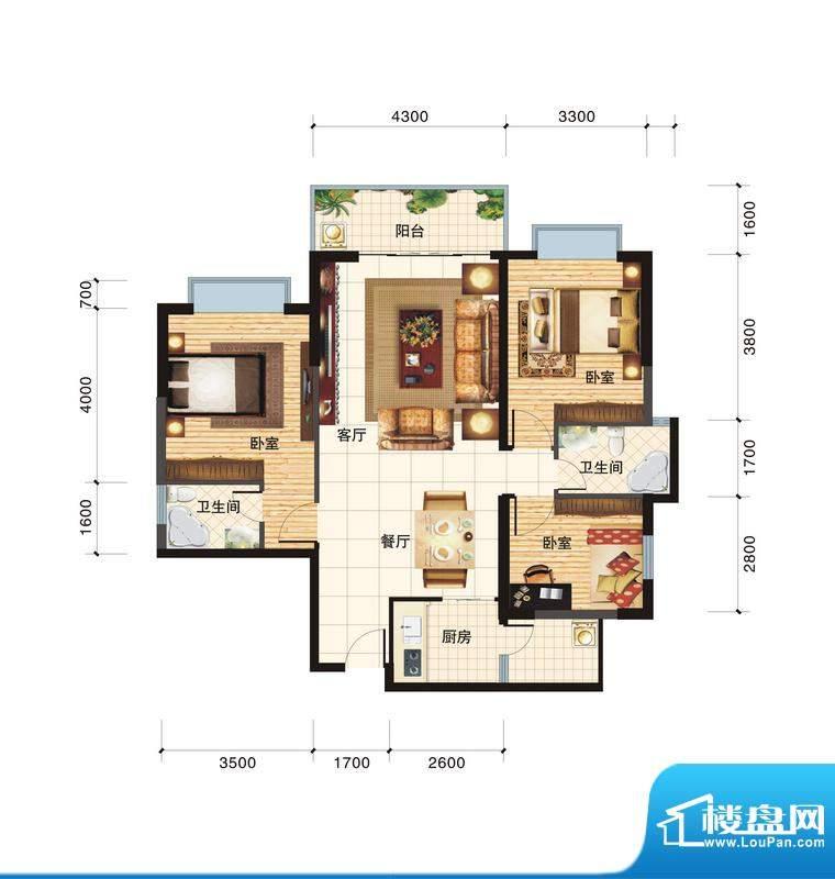 春江一号B户型 3室2面积:111.93平米