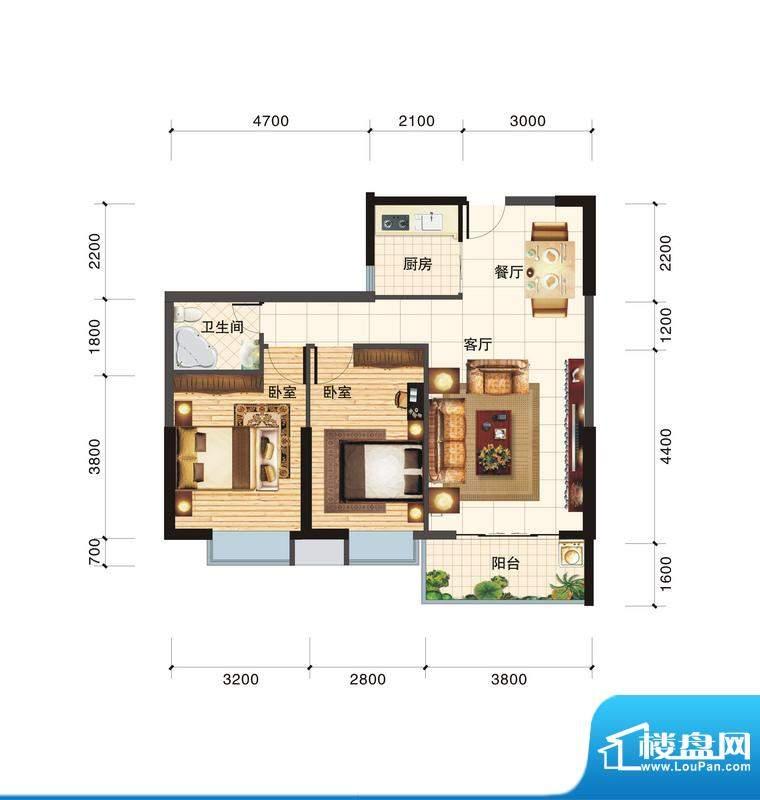 春江一号C户型 2室2面积:83.45平米