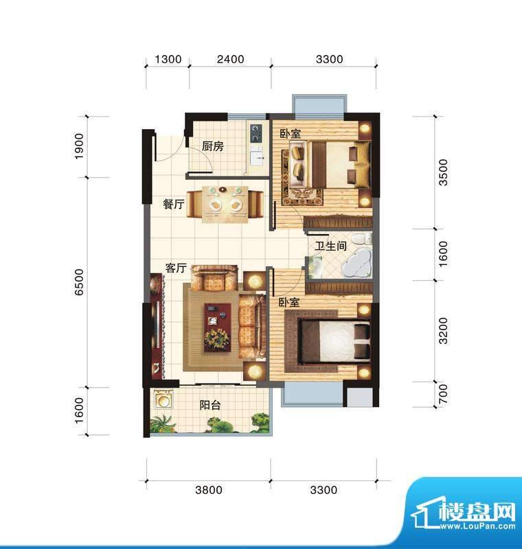 春江一号D户型 2室2面积:74.00平米