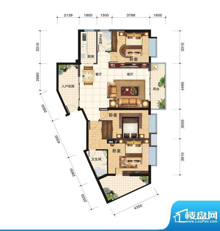 春江一号E户型 3室2面积:130.96平米