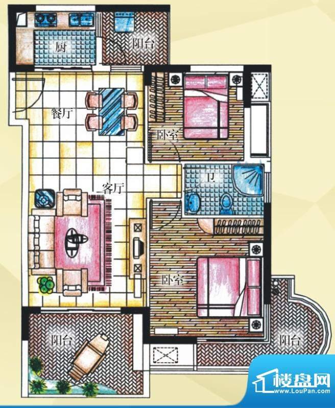 御河观景台7#楼02室面积:86.80平米