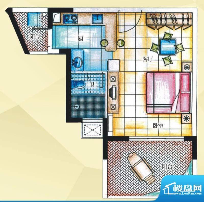 御河观景台7#楼03室面积:47.40平米