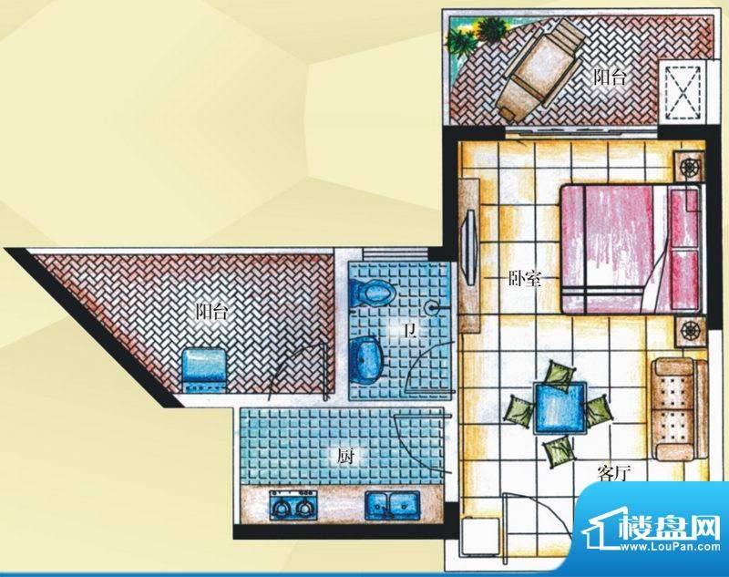 御河观景台7#楼04室面积:45.50平米
