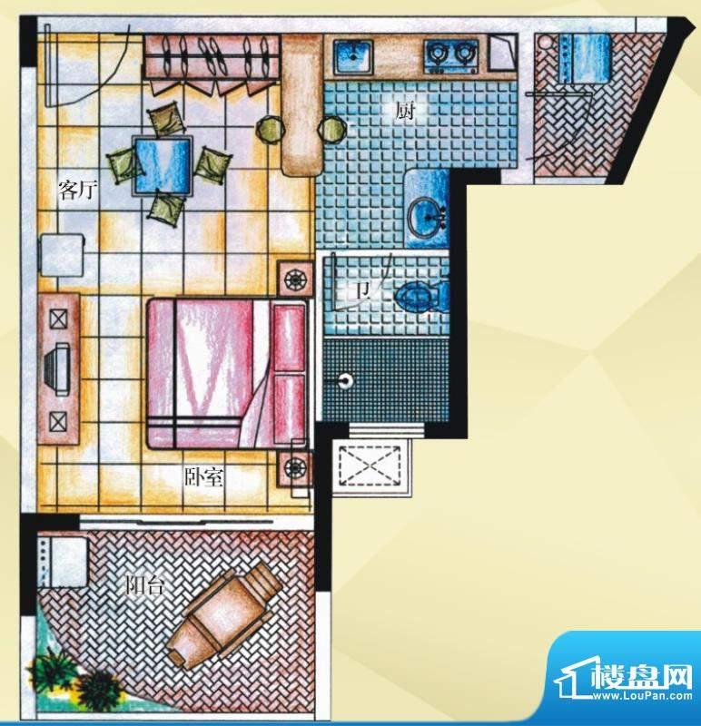 御河观景台7#楼05室面积:44.70平米