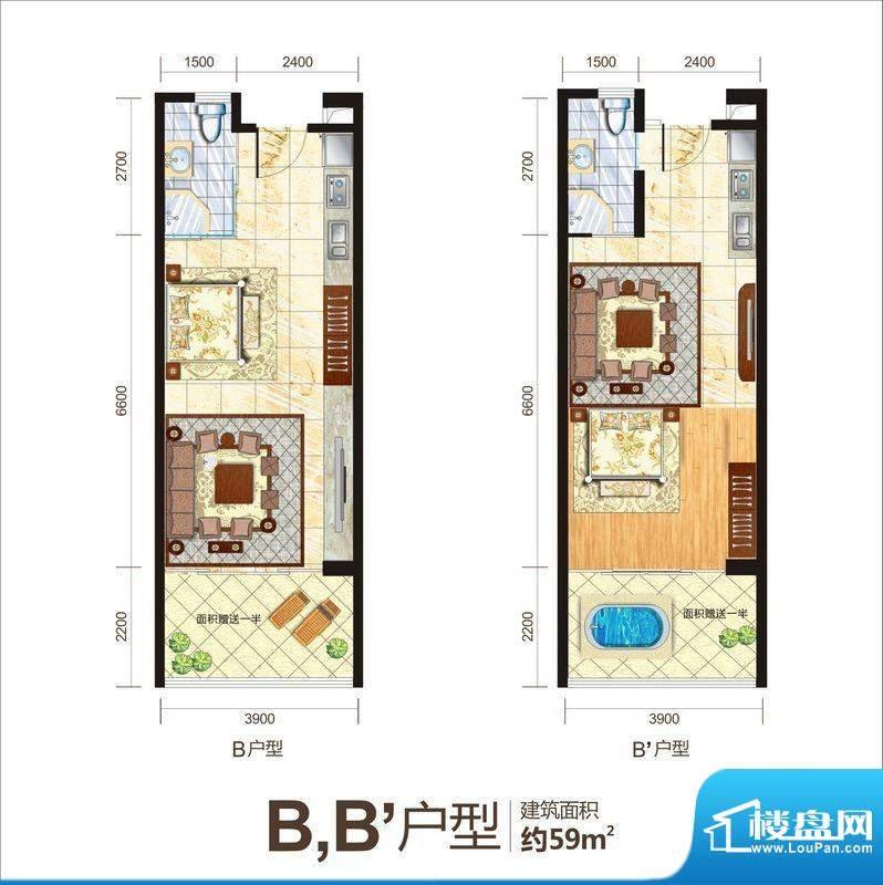 一品国际B/B1户型图面积:59.00平米