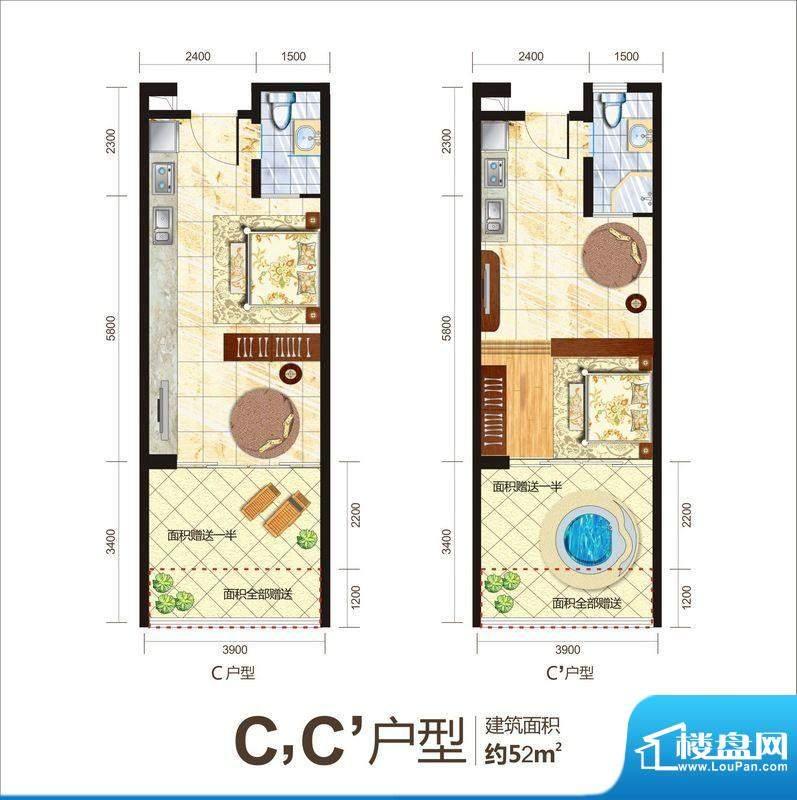 一品国际C/C1户型图面积:52.00平米