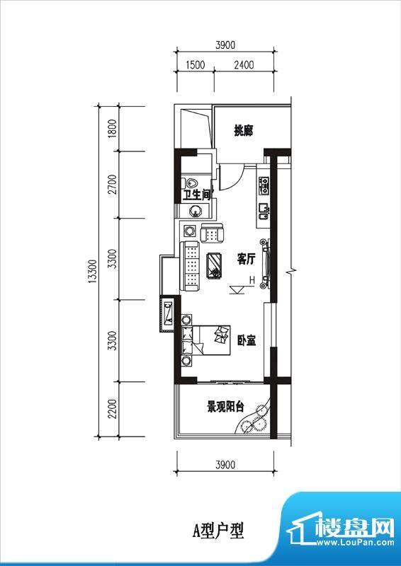 一品国际A户型 1室1面积:41.16平米