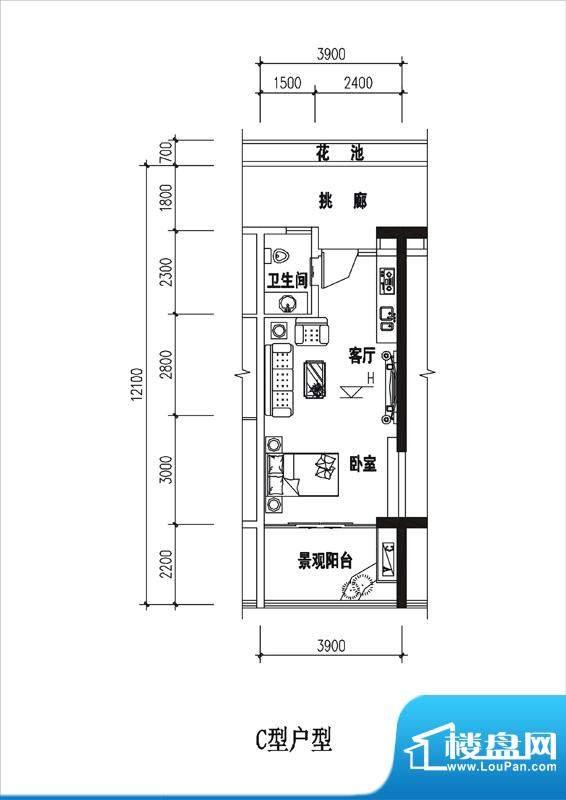 一品国际C户型 1室1面积:35.53平米