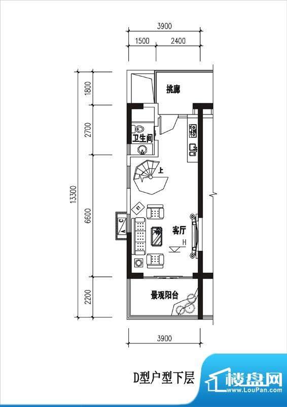 一品国际D户型(下层面积:0.00平米