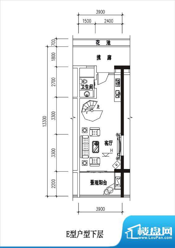 一品国际E户型(下层面积:0.00平米