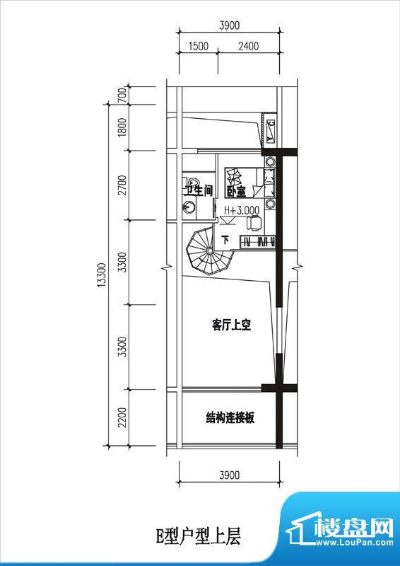 一品国际E户型(上层面积:0.00平米