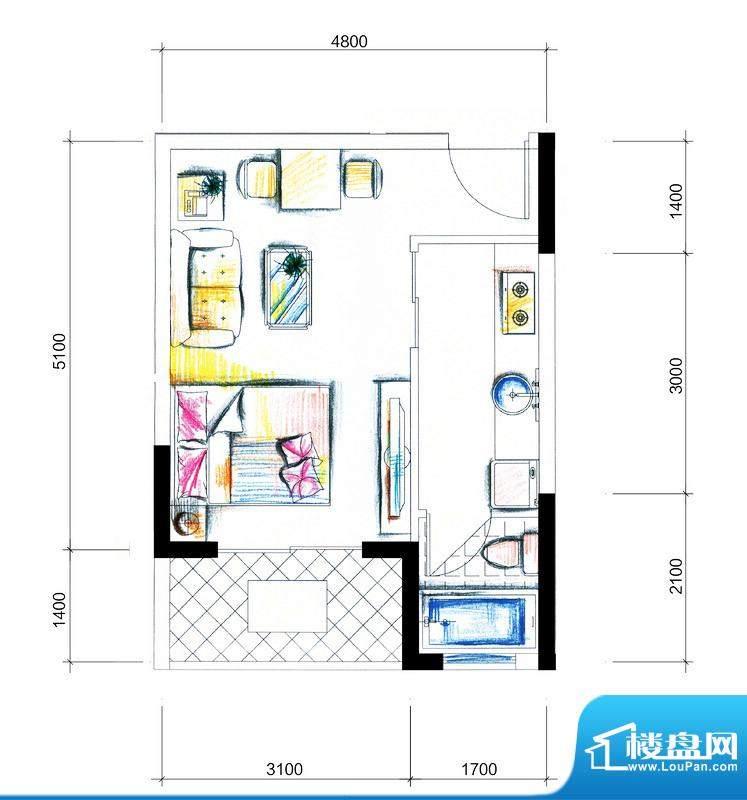 临澜湾海豚花园1号楼面积:35.06平米