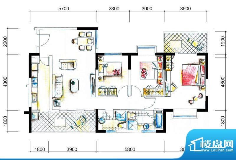 临澜湾海豚花园1号楼面积:123.70平米