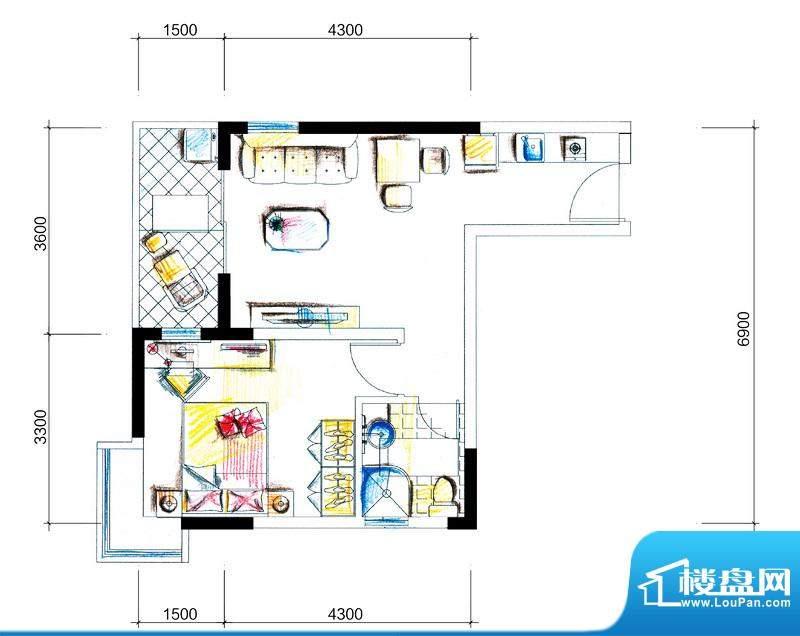 临澜湾海豚花园1号楼面积:50.90平米