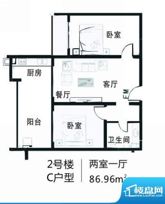 南海家园2号楼C户型面积:86.96平米