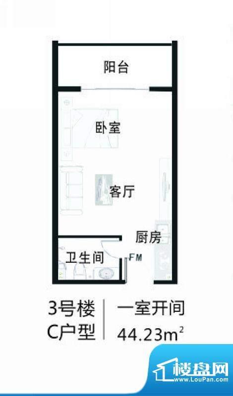 南海家园3号楼C户型面积:44.23平米