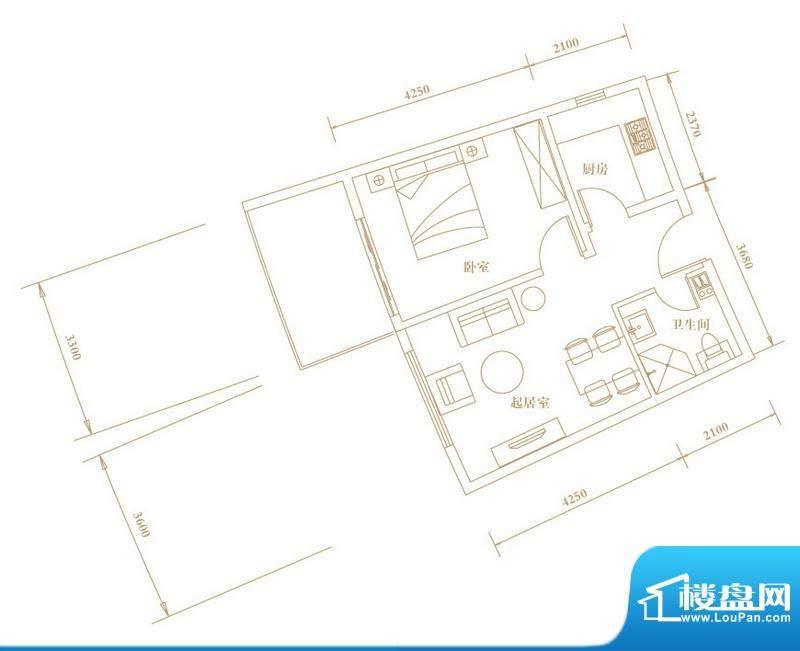 棕榈半岛国际公寓A2面积:56.81平米