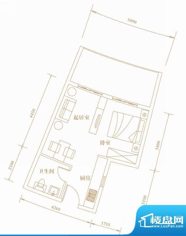 棕榈半岛国际公寓A2面积:42.92平米