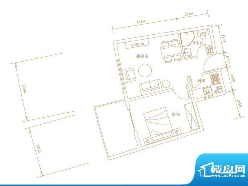 棕榈半岛国际公寓偶面积:53.77平米
