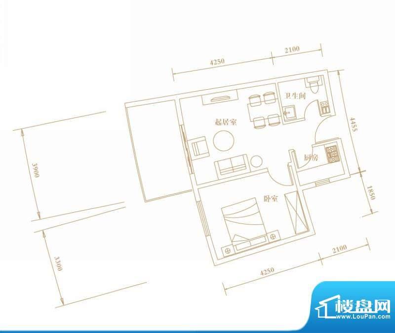 棕榈半岛国际公寓奇面积:53.77平米