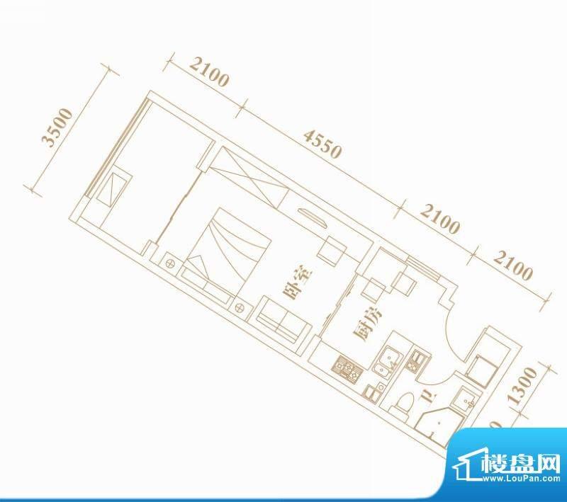 棕榈半岛国际公寓A1面积:44.39平米