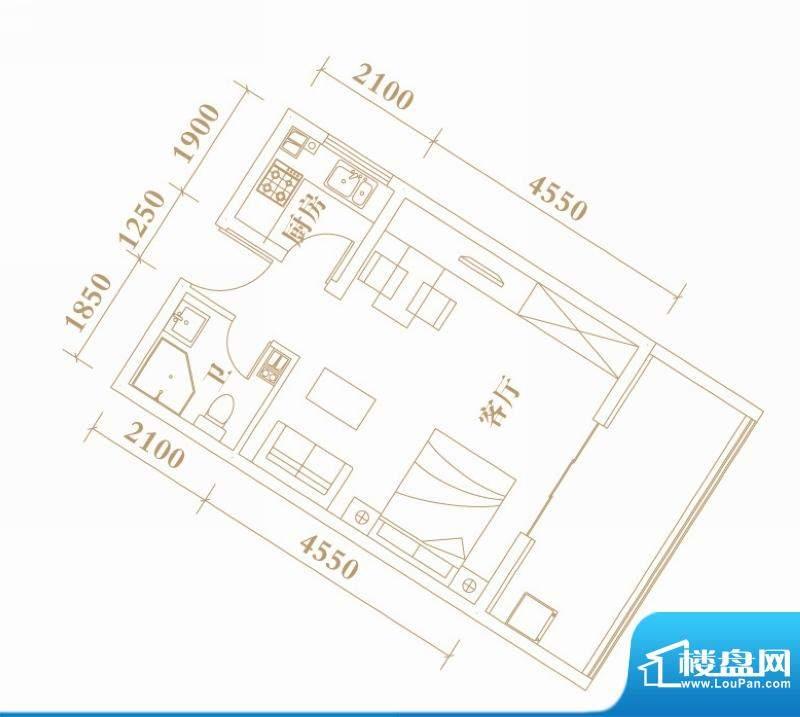 棕榈半岛国际公寓A1面积:51.75平米