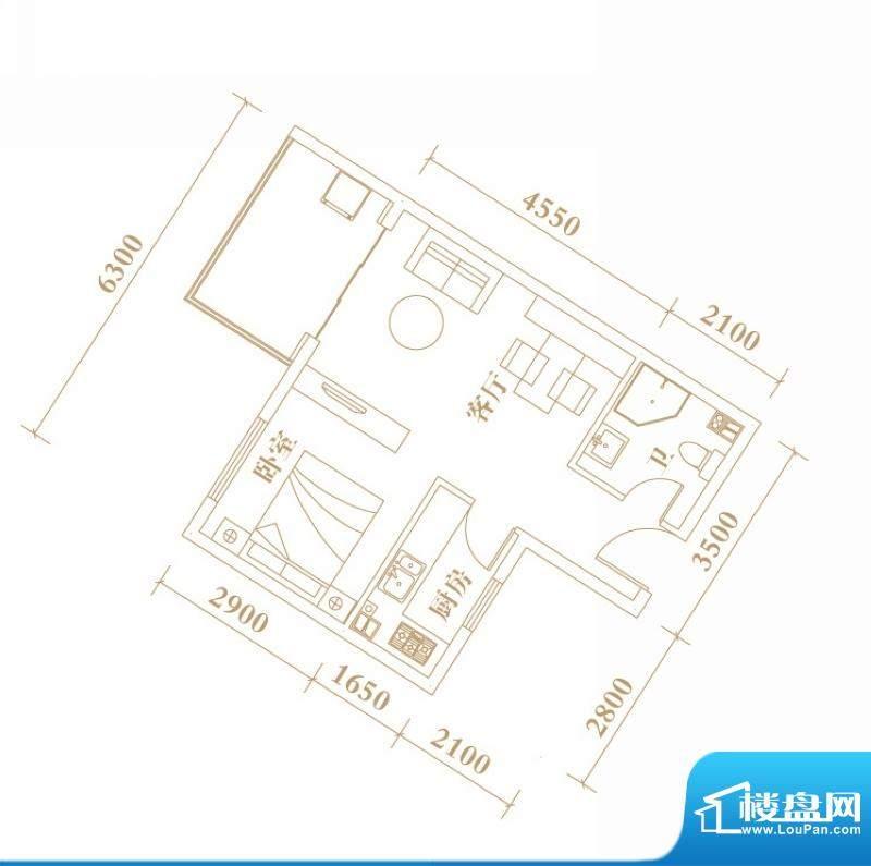 棕榈半岛国际公寓A1面积:52.95平米