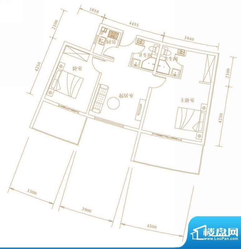 棕榈半岛国际公寓a2面积:81.54平米