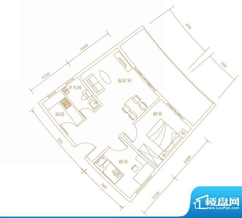 棕榈半岛国际公寓a2面积:75.39平米