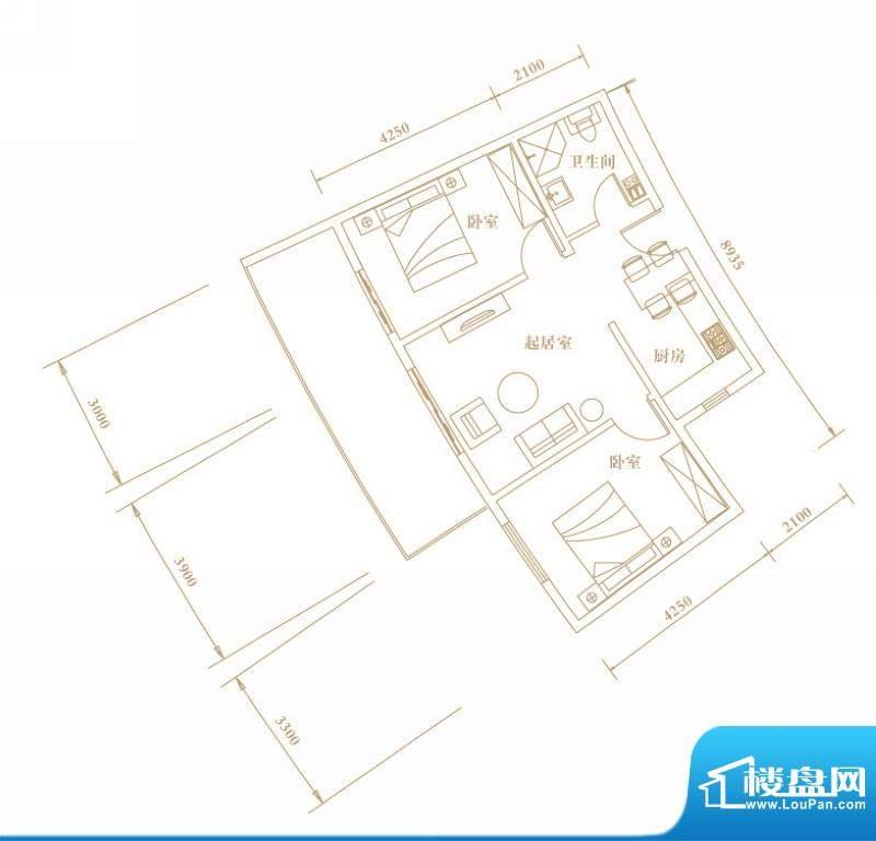 棕榈半岛国际公寓a2面积:77.72平米