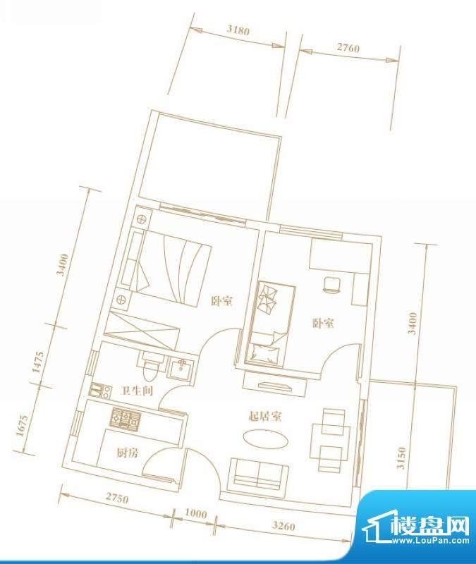 棕榈半岛国际公寓a2面积:62.67平米