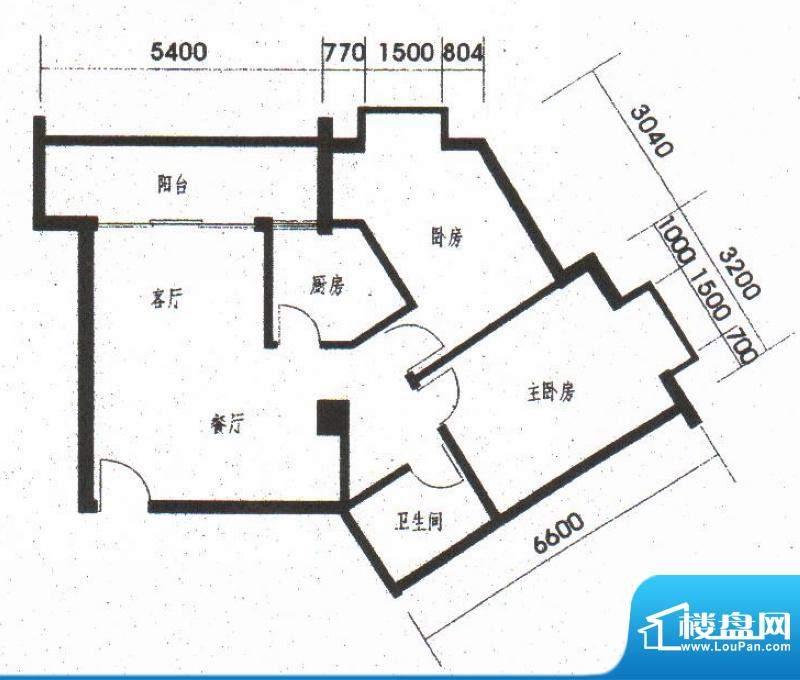 橡树园C3户型 2室2厅面积:80.25平米