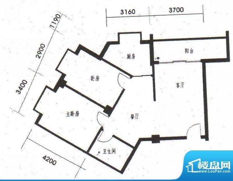 橡树园c2户型 2室2厅面积:92.31平米