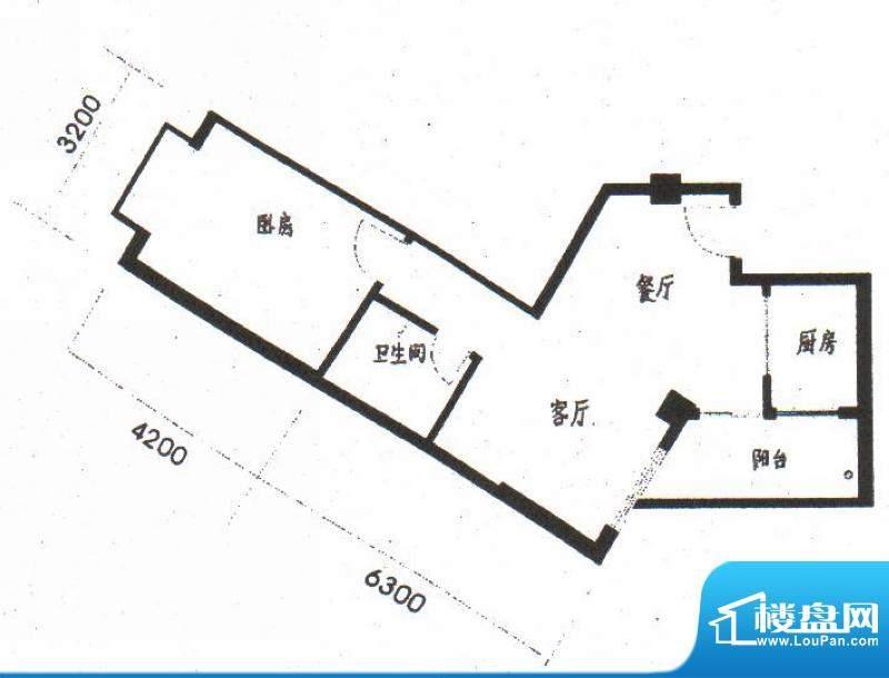 橡树园c1户型 1室2厅面积:65.62平米