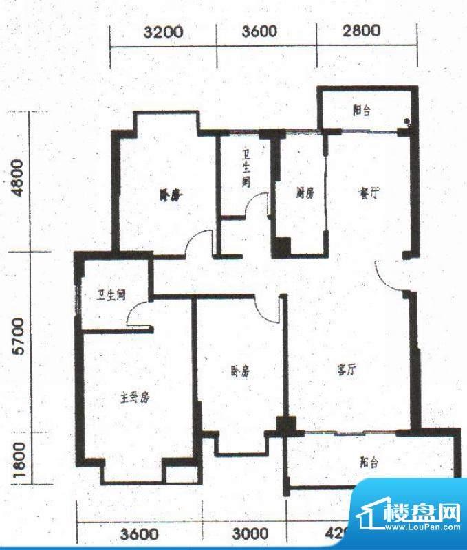 橡树园B1、B2户型 3面积:130.71平米