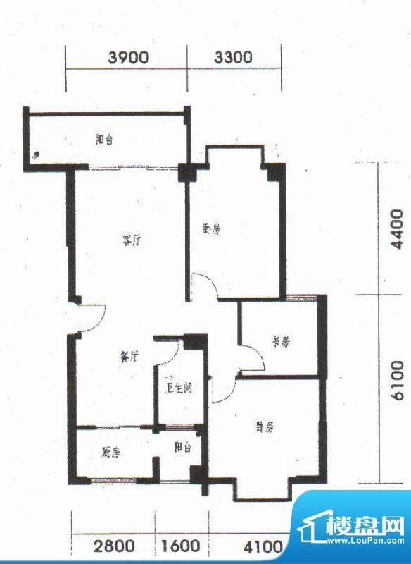 橡树园A2户型 2室2厅面积:104.06平米