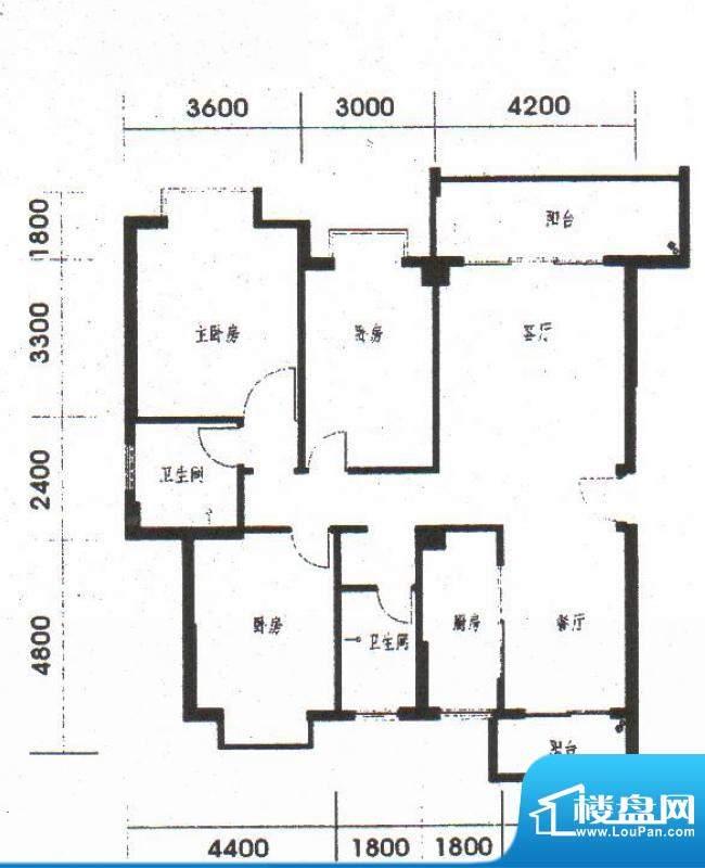 橡树园A1户型 3室2厅面积:130.60平米