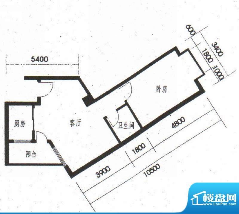 橡树园C4户型 1室1厅面积:64.20平米