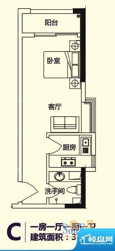 义方家园商务公寓C户面积:37.08平米
