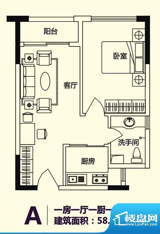 义方家园商务公寓标面积:58.88平米